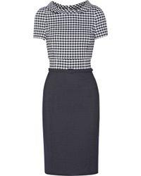 Oscar de la Renta Gingham Wool Blend Dress - Lyst