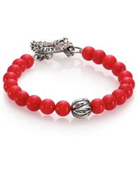 King Baby Studio Coral & Silver Feather Beaded Bracelet red - Lyst