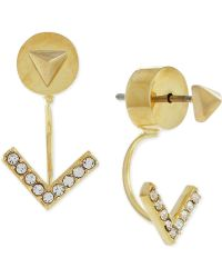 Vince Camuto - Gold-tone Pyramid Stud Pave V Front And Back Earrings - Lyst