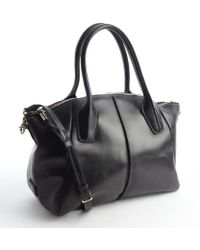 Tod's Black Leather Convertible Top Handle Satchel - Lyst
