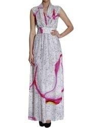 Iceberg Tropical Fruit Printed Silk Sleeveless Long Dress - Lyst