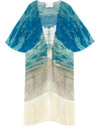 Athena Procopiou Turquoise And Iris Kimono blue - Lyst