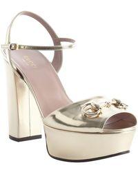 Gucci Gold Leather Horsebit Detail Platform Peep Toe Pumps - Lyst