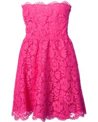 Valentino Floral Lace Strapless Dress - Lyst