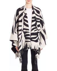 Burberry | Prorsum Felted Zebra-knit Poncho | Lyst