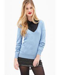 Forever 21 Deep V-Neck Sweater - Lyst