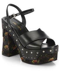 Prada Embroidered-Heel & Platform Leather Sandals - Lyst