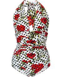 Dolce & Gabbana Floral Halter One Piece Swimsuit - Lyst