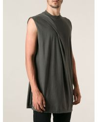 DRKSHDW by Rick Owens Dark Dust Draped Tshirt - Lyst