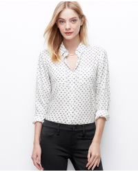 Ann Taylor Petite Bow Print Crepe Button Down Shirt - Lyst