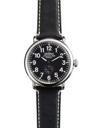 Shinola The Runwell Black Dial Leather Strap Watch, 41Mm - Lyst