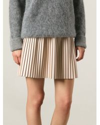 MSGM Leather Effect Pleated Skirt - Lyst
