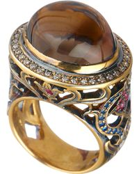 Queensbee - Oval Flower Ring Brown - Lyst