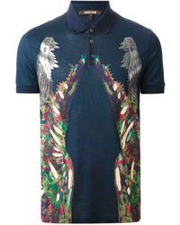 Roberto Cavalli Painterly Print Polo Shirt - Lyst