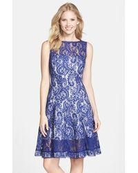 Tadashi Shoji Bonded Lace Fit & Flare Dress - Lyst