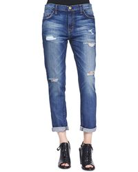Current/Elliott T The Fling Bluebennett Destroyed Jeans - Lyst