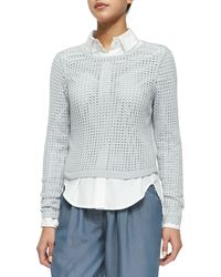 Rebecca Taylor Long-Sleeve Mesh Sweater - Lyst
