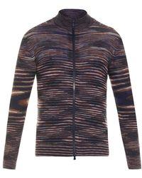 Missoni Zip-Up Striped Fine-Knit Cardigan - Lyst