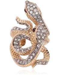 Roberto Cavalli Swarovski Serpents Ring - Lyst