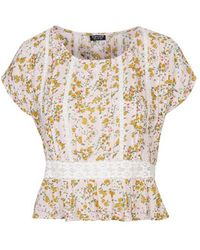 Topshop Flower Lace Pintuck Blouse - Lyst