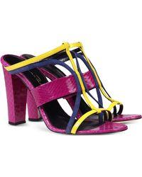 Oscar de la Renta | Color-Blocked Leather and Snakeskin Sandals | Lyst