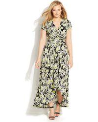 Michael Kors Michael Plus Size Bamboo-Print Faux-Wrap Dress - Lyst