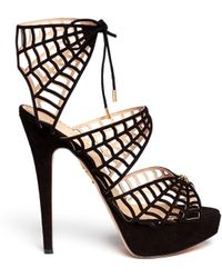Charlotte Olympia Caught in Charlottes Web Suede Caged Sandals - Lyst