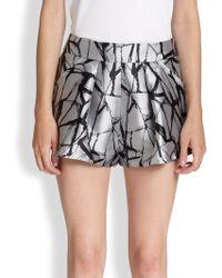 Sachin & Babi - Pixie Crackle-print Metallic Satin Shorts - Lyst