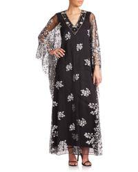 Badgley Mischka Embellished Caftan black - Lyst