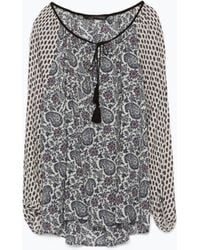 Zara Printed Shirt With Puffed Sleeves And Tassels - Lyst