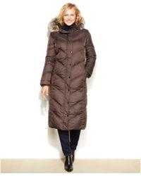 London Fog Plus Size Hooded Faux-Fur-Trim Down Maxi Puffer Coat - Lyst