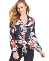 Karen Kane Palm-print Tie-hem Shirt - Lyst
