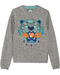 Kenzo Tiger Embroidered Cotton-Jersey Sweatshirt - Lyst