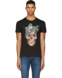 Alexander McQueen Black Feather Skull T_shirt - Lyst