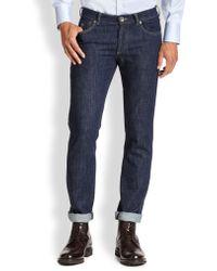 Brunello Cucinelli Dark Wash Slim-Fit Jeans - Lyst
