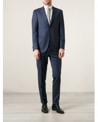 Canali Blue Pinstriped Suit - Lyst
