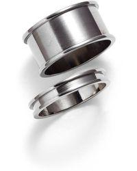 Tuleste - Stackable Channel Rings - Gunmetal (set Of 2) - Lyst