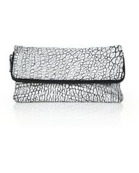 Mr. Edwards Two-Tone Pebbled Leather Fold-Over Clutch white - Lyst