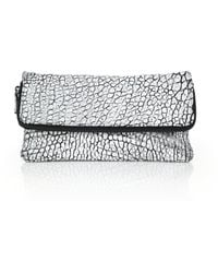 Mr. Edwards Two-Tone Pebbled Leather Fold-Over Clutch - Lyst