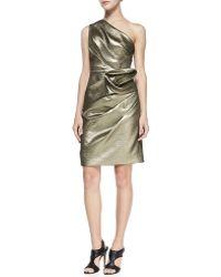 Halston Heritage Floral-twist One-shoulder Dress Gold 0 - Lyst