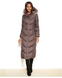 London Fog Petite Hooded Faux-Fur-Trim Down Maxi Puffer Coat - Lyst