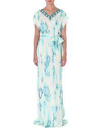 Matthew Williamson Tiedye Silk Gown Aquamarine - Lyst