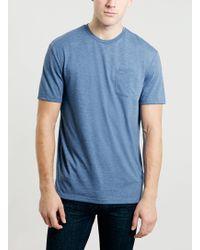 Topman Blue Plain Pocket T-shirt - Lyst