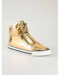 Versace Metallic High-Top Sneakers - Lyst