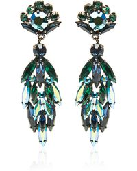 7c4da393a72 Carole Tanenbaum S Sherman Aurora Borealis Green and Blue Dangly Navette  Earrings