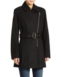Kenneth Cole Reaction Belted Zip Front Coat - Lyst