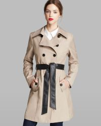 DKNY Combo Contrast Faux Leather Belted Trench Coat - Lyst