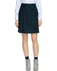 Brooks Brothers Black Watch Wool Pleated Mini Skirt - Lyst