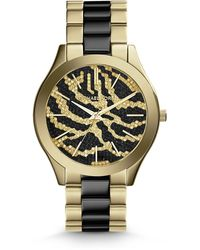 Michael Kors Midsize Golden Stainless Steel Runway Threehand Glitz Watch - Lyst