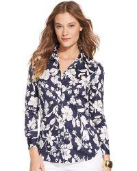 Lauren by Ralph Lauren Petite Floral Patterned Sateen Shirt - Lyst